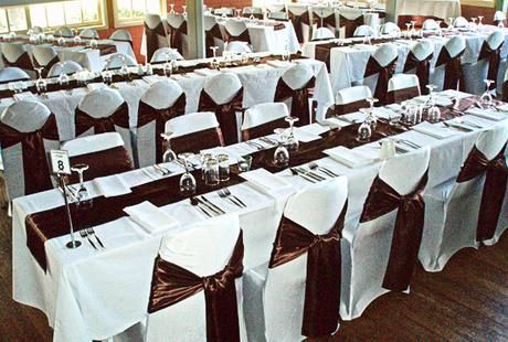 White Chair Covers Satin Sashes Exquisite Wedding Decorations Cream Weddingwedding Whitechocolate Brown