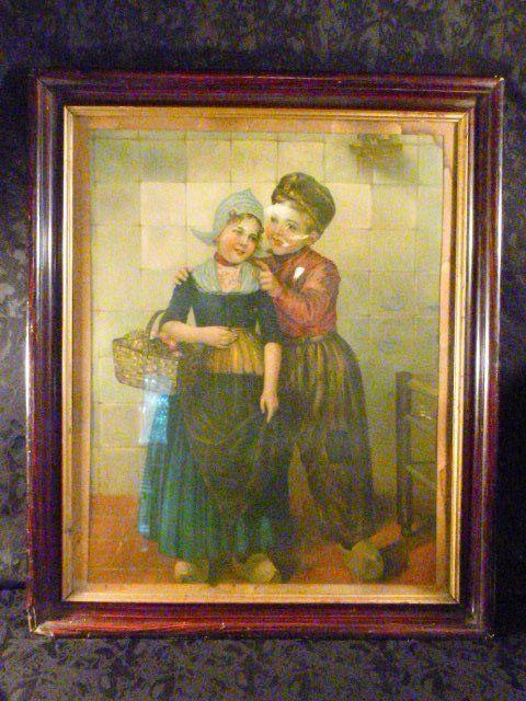 VICTORIAN ANTIQUE DUTCH CHILDREN PRINT FRAMED HOLLAND 1800's in Art, Art from Dealers & Resellers, Prints | eBay