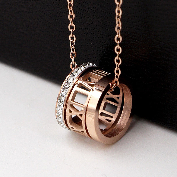Photo of Charm necklace with Roman numerals – stainless steel