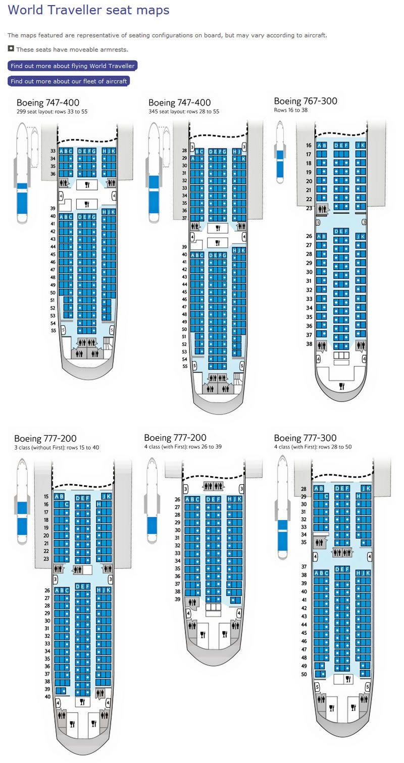 British Airways World Traveller Seating Charts British Airways