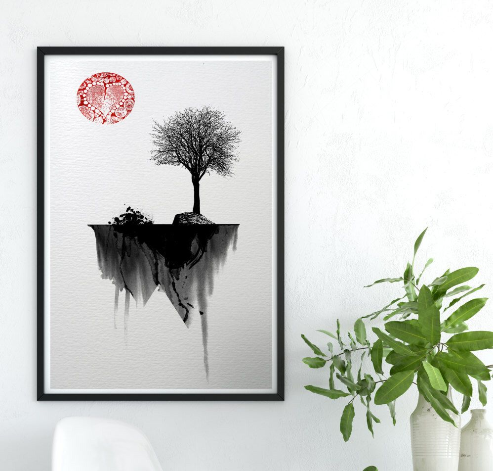 Red and black wall art art print watercolor poster nature print