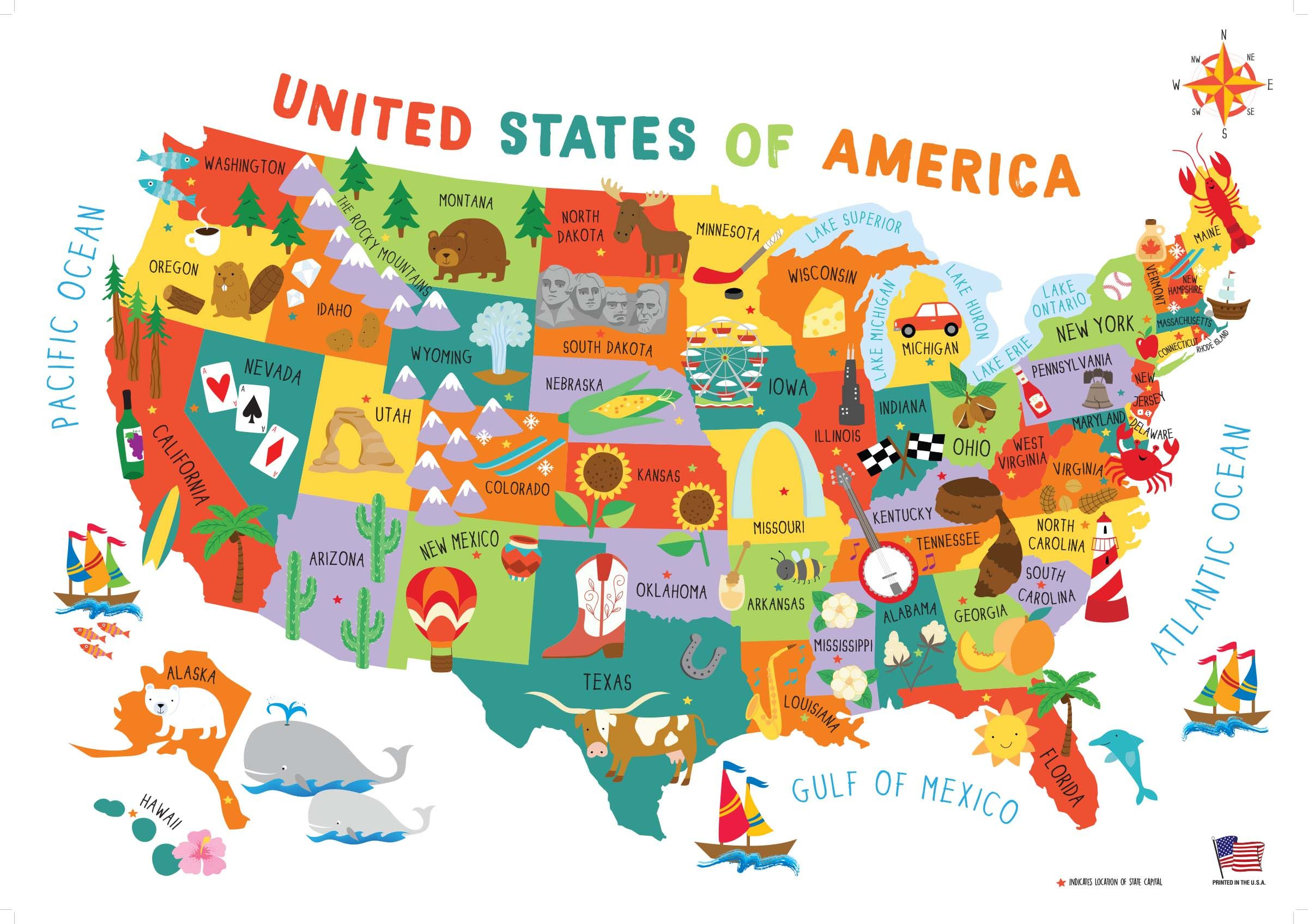 Children S United States Us Usa Wall Map For Kids 28 40 In 2020