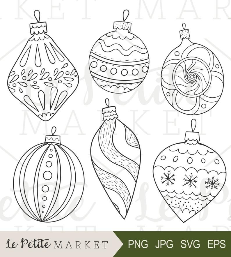 Hand Drawn Vintage Ornaments Illustrations Holiday Ornaments Etsy In 2020 Ornament Drawing Christmas Drawing Christmas Coloring Pages
