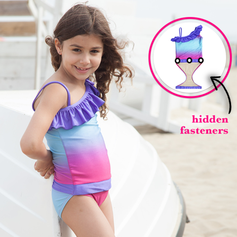 e5568e805b Girl at Beach wearing Fuchsia Turquoise Ombre one-shoulder swimsuit for  girls by FASTEN. Features patented design that opens at the waist