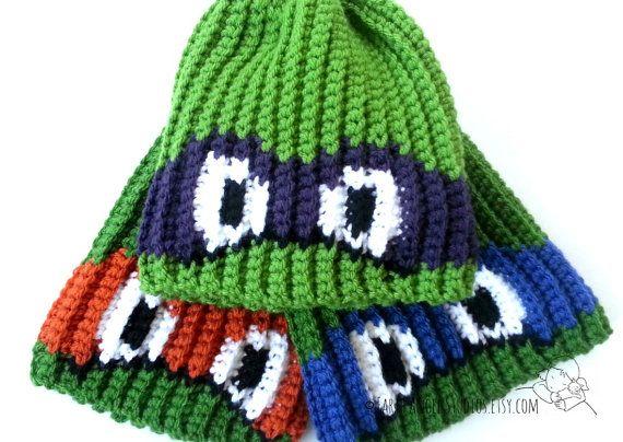 Ninja Turtle Custom Crochet Hat by EarthAngelStudios on Etsy, $15.00