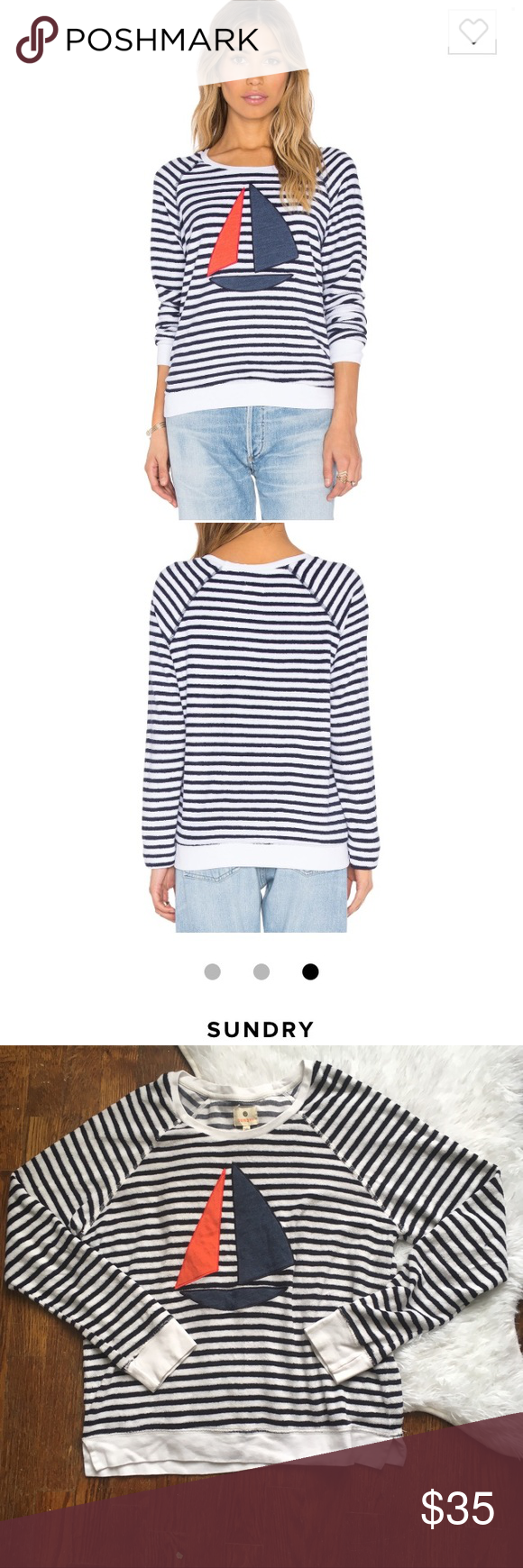 Sundry Sailboat Stripe Pullover Sweater Novelty Sundry size 2 (equivalent to a medium per their size chart) novelty stripe sailboat appliqué sweatshirt/sweater. Pull this fun piece on over your swimsuit when the night gets cool and everyone will know who the captain is. Still for sale on revolve for $73! Gently loved and soft and fluffy like a beach towel or terry cloth robe. Sundry Sweaters Crew & Scoop Necks
