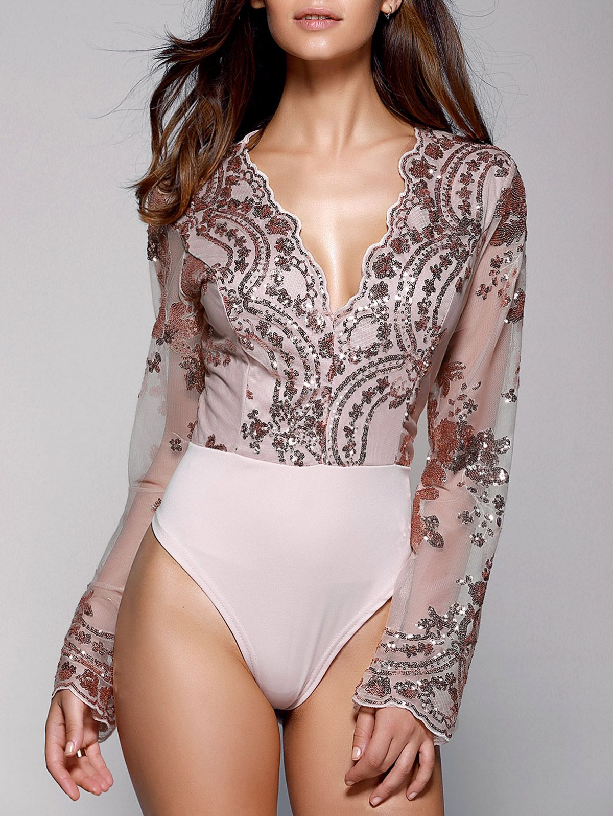 bfc5a6484d Stylish Plunging Neck Long Sleeve Floral Sequined Women s Bodysuit ...