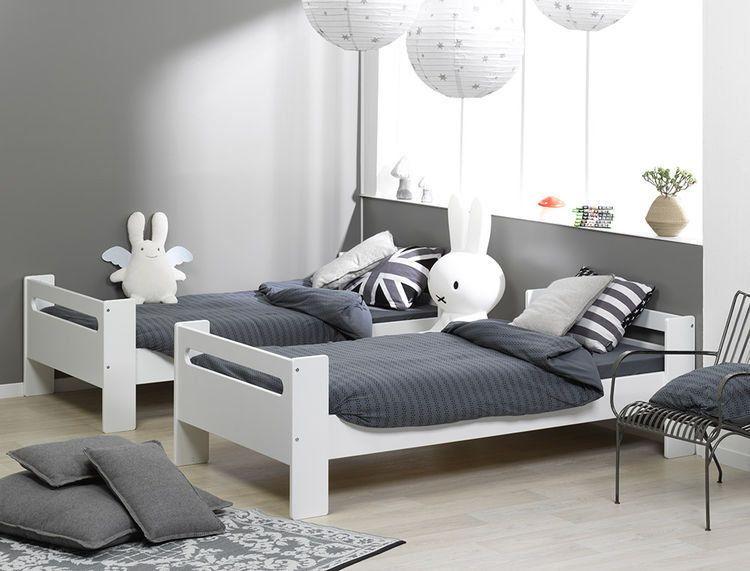 Lote de 2 camas individuales de 90x190 color blanco - Literas lacadas en blanco ...