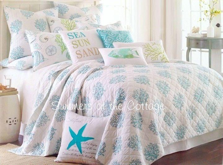 Coastal living sea glass aqua blue coral reef cabana for Living room quilt