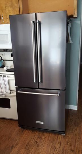 Kitchenaid 20 Cu Ft French Door Refrigerator In Stainless Steel With Interior Water Dispenser Krff300ess The Home Depot French Door Refrigerator French Doors Kitchen Aid