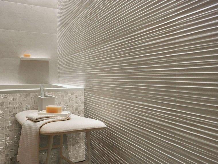 azulejos blancos rayas horizontales pared - Azulejos Modernos