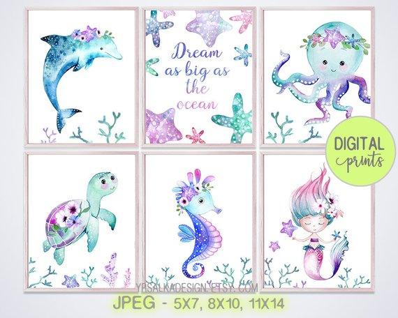 Mermaid Pink Watercolour Little Girl Room Baby Nursery Wall Art Poster Print
