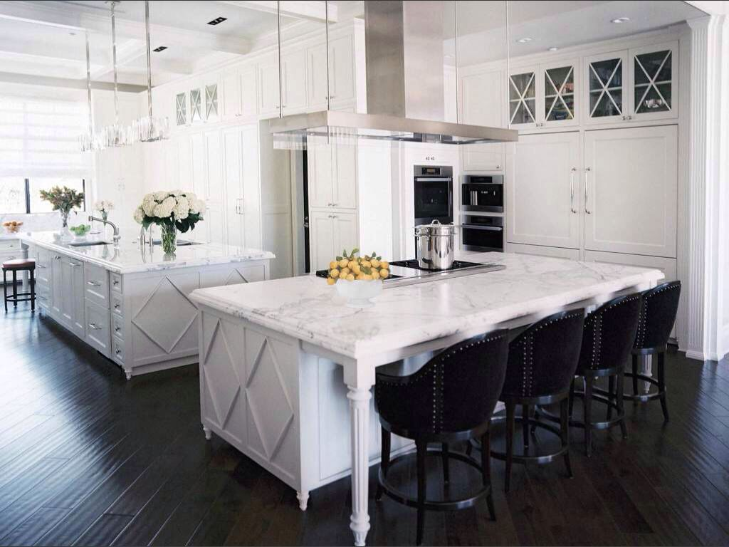 Achromatic Color Scheme Kitchen White Cabinets Lovely Marble And Black Stools With Metal Studs For
