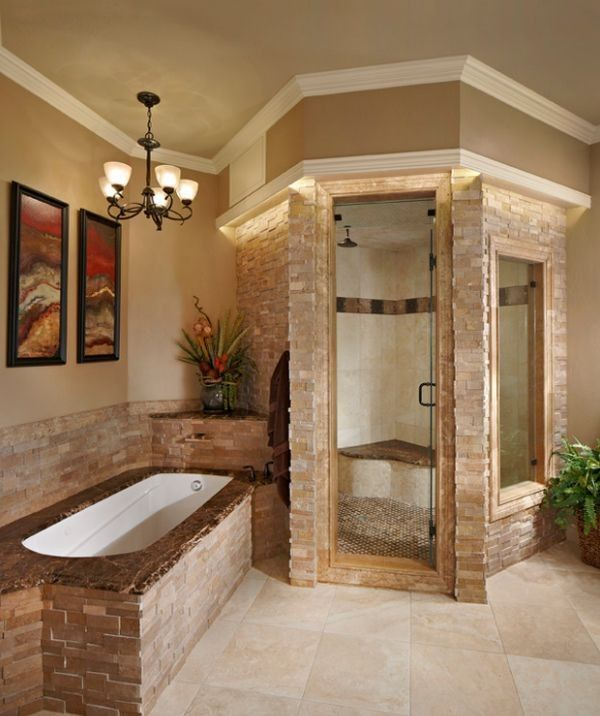 Stacked Stone Steam Shower Looks Classy And Elegant Decoist Home House Design Home Spa