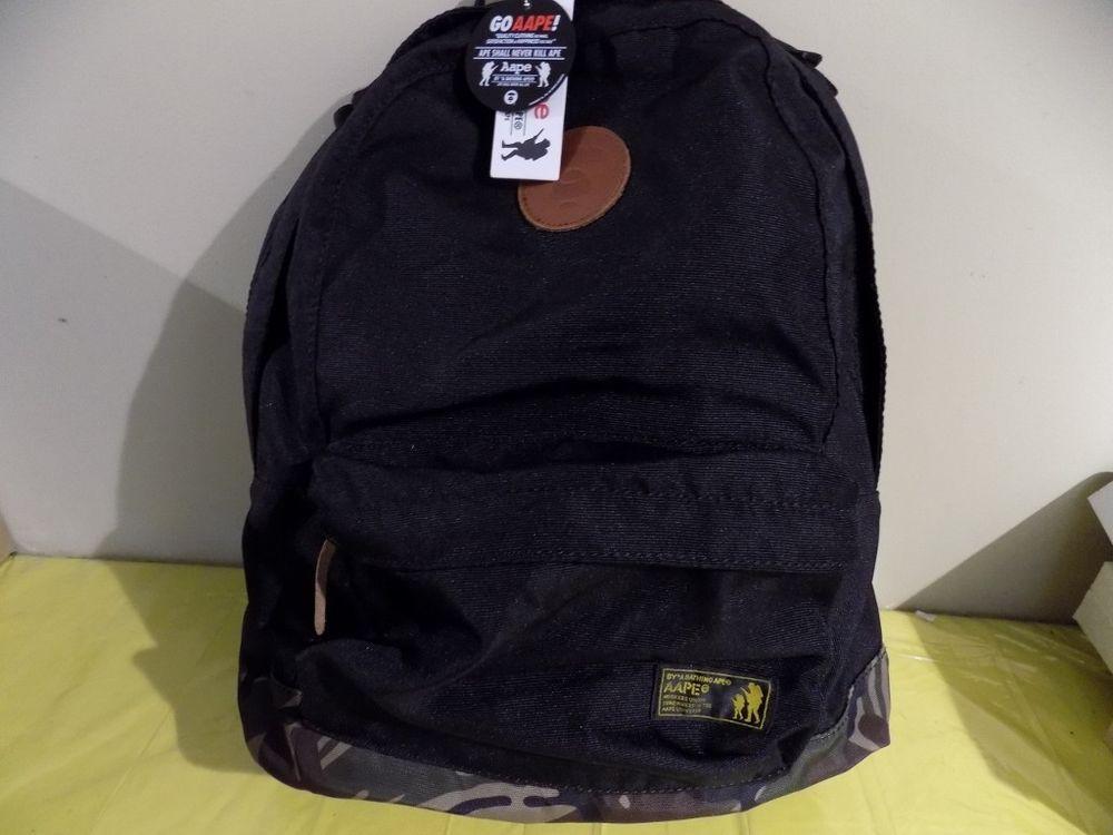 2ce045efbe5e NWT A Bathing Ape Canvas Black and Cammo Backpack  BAPE  Backpack ...