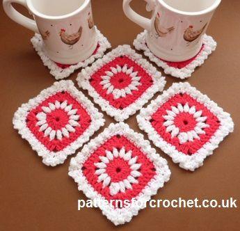 Free crochet pattern for pretty coasters http://www ...