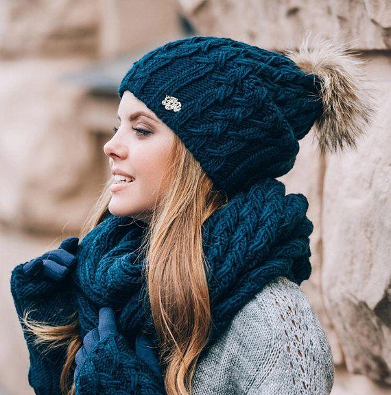 Winter set women Wool hat scarf infinity gloves Wool set Knitted set Winter  Winter chunky scarf Holi 36bce0c1663
