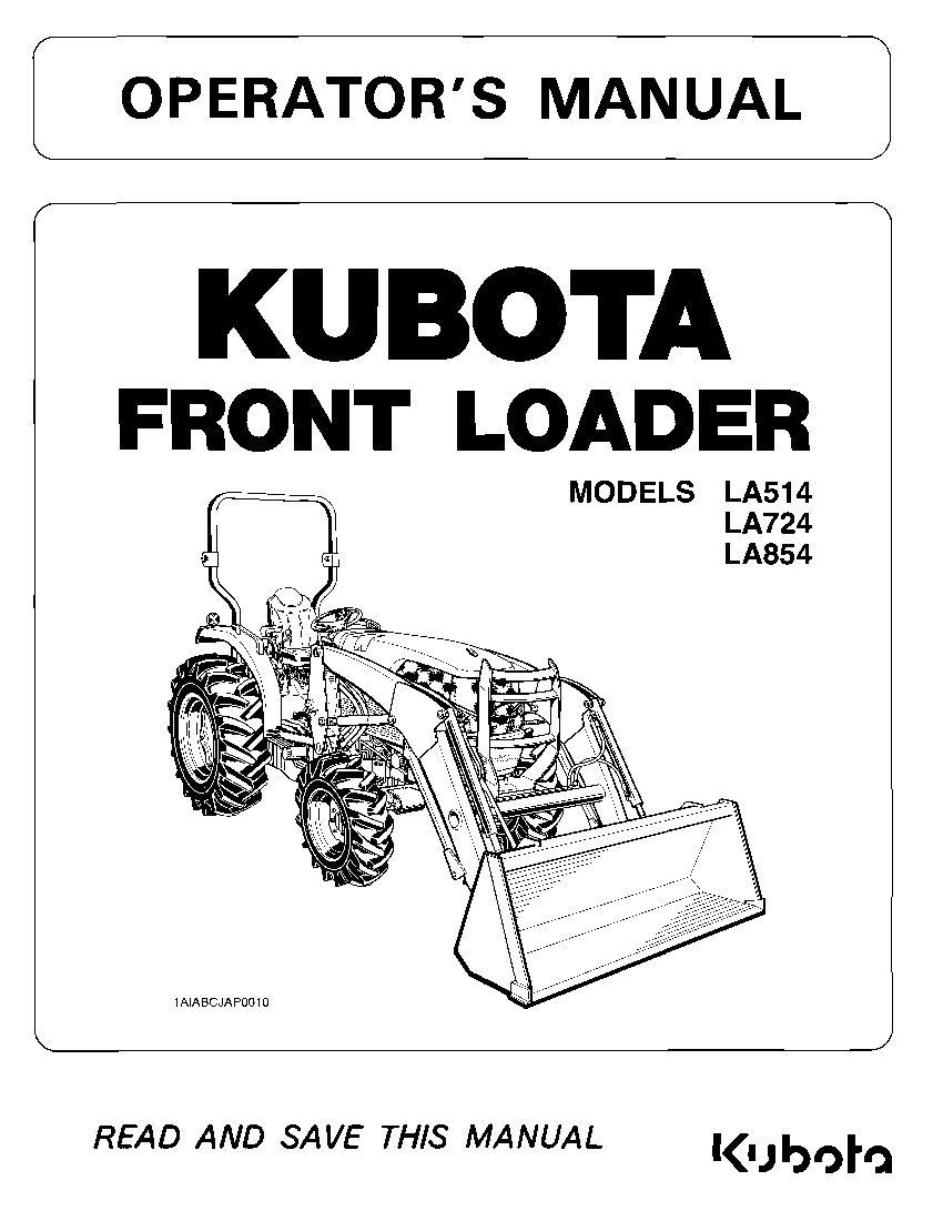 Kubota LA514 LA724 LA854 Operation manual PDF Download ...