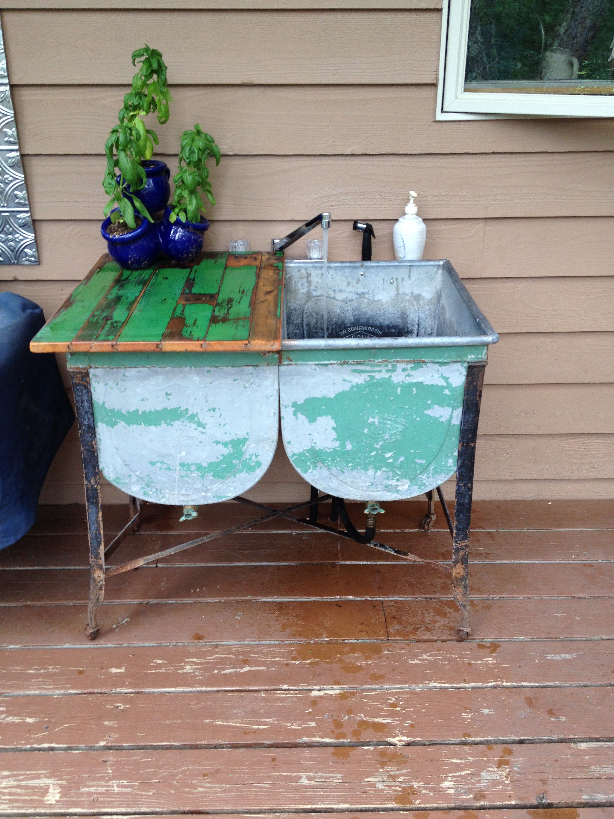 Outdoor sink from galvanized wash tub with faucet and garden hose ...