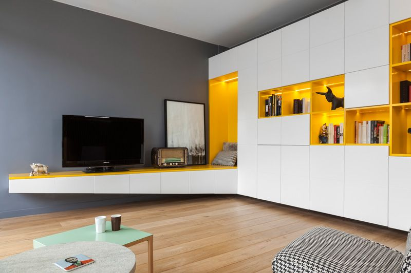 Cutaway Apartment Full Furnitures Modern Design: Father And Son Apartment In Paris: Full Of Creative