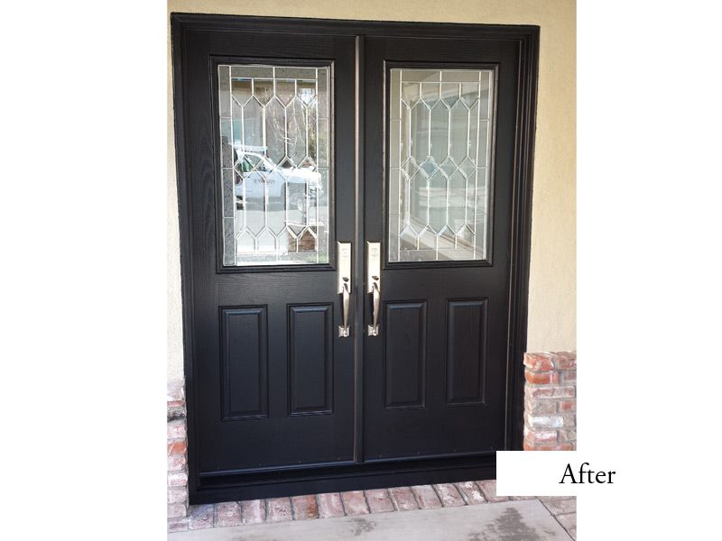 Modern double entry doors thermatru fiberclassic smooth for Black entry door with glass