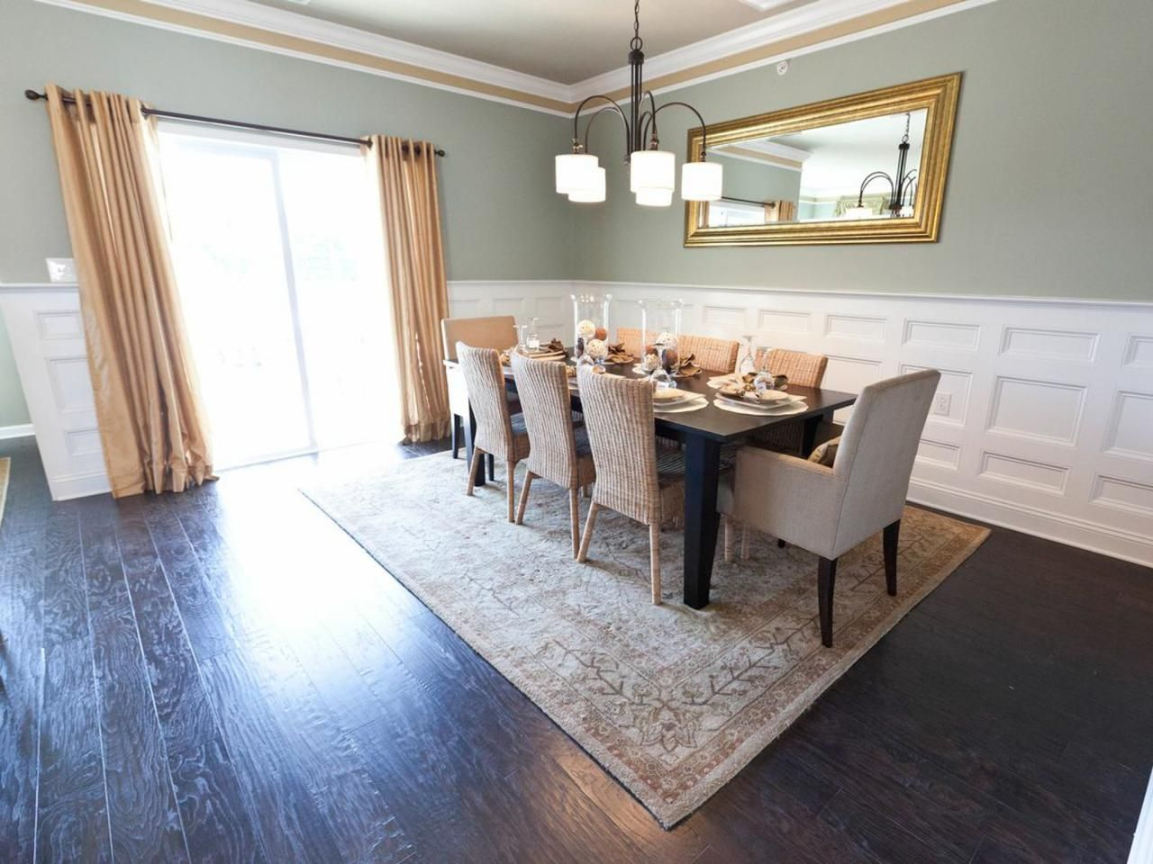 Superior Wainscoting Dining Room Ideas Part - 10: Dine In Elegance In This Gray-blue Dining Room With Wainscoting Detail  Trim. Crown Molding With A Taupe Stripe Highlight The Architectural Detail  And Relate ...