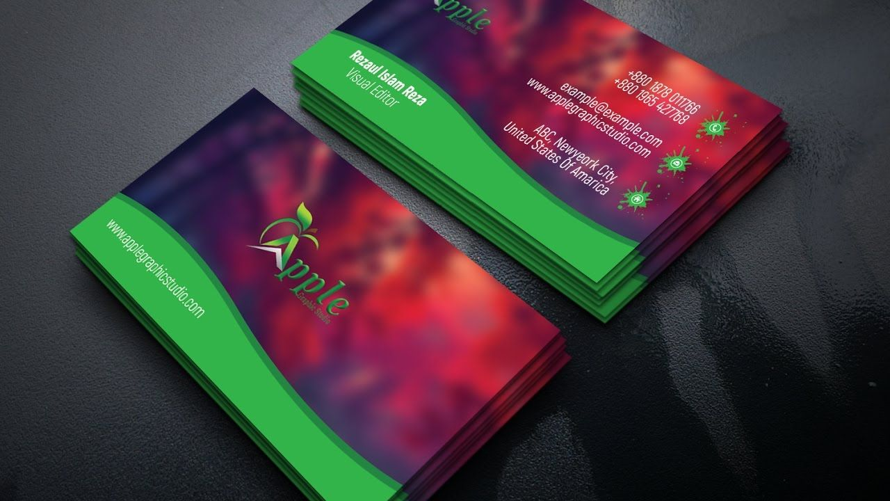Colorful Business Card Design Tutorial - Adobe Photoshop | Business ...