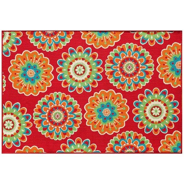 Your Patio Is Sure To Pop With This Celebrate Summer Floral Medallion  Indoor And Outdoor Rug.