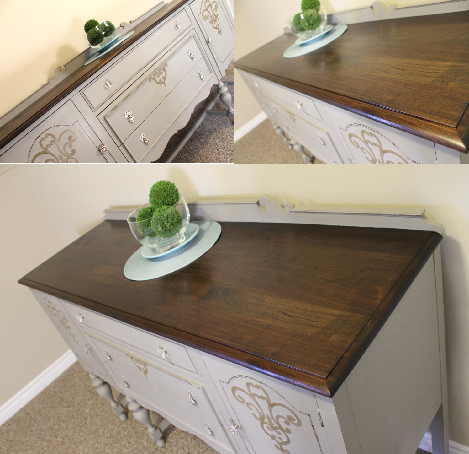 After Antique Solid Cherry Refinished Sideboard Buffet Annie Sloan Chalk Paint In French Linen Clear Wax Staining Wood Real Wood Furniture Diy Furniture