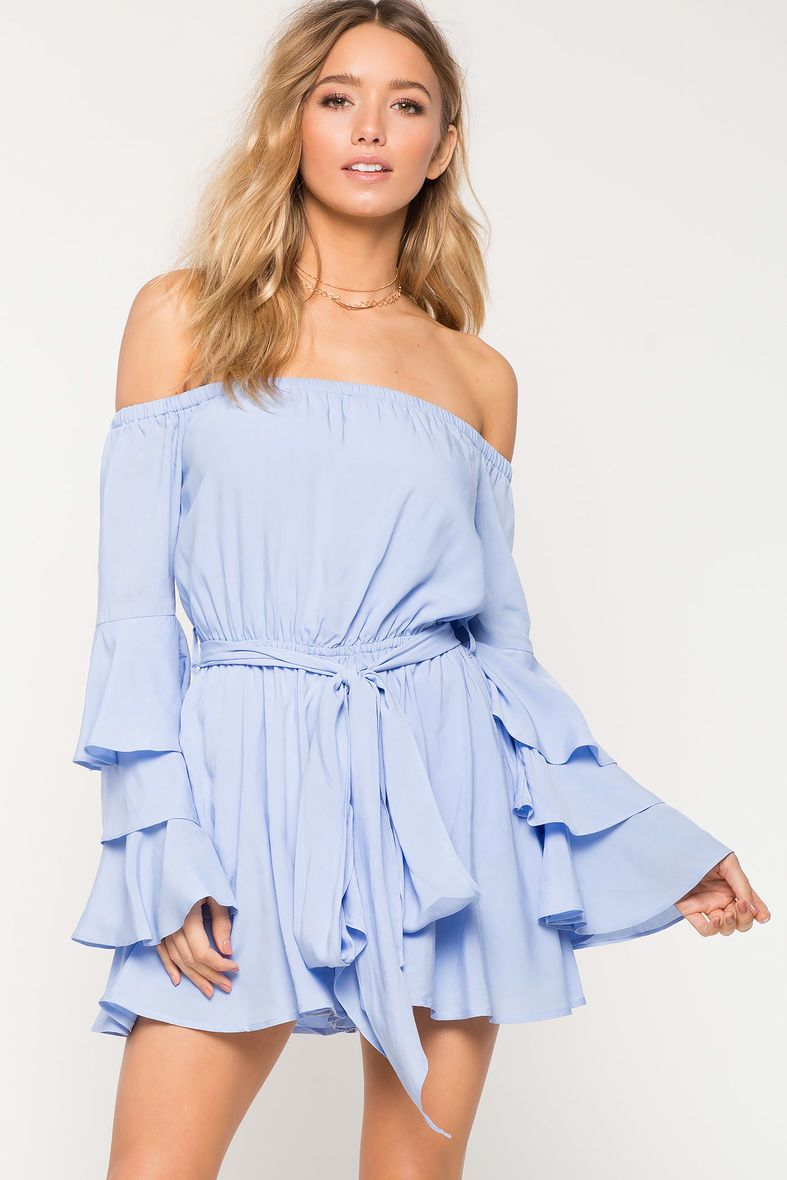 8505c8956464 Ruffle Layer Off Shoulder RomperRuffle Layer Off Shoulder Romper