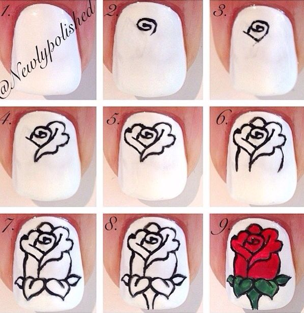 uñas rosa flor   Uñas diseños flores fáciles   Pinterest   Diseños ...