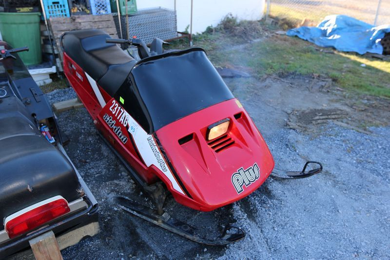 1987 Ski Doo Formula Plus Snowmobile With Rotax 5212CC Water Cooled Motor Number 3570475 Tool Kit Studded Track And Heated Grips Odometer Reading