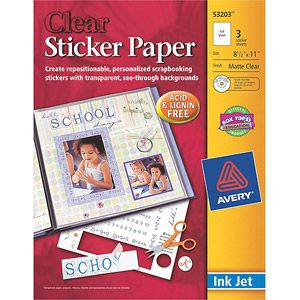 Avery Printable Sticker Paper Matte Clear Inkjet 3 Sheets 53203 Walmart Com Clear Sticker Paper Printable Clear Sticker Paper Avery Sticker Paper