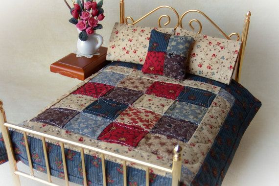 Miniature Handmade Quilt with 2 Matching Bed Pillows & Decorator Pillow, Theodora - 1:12 Scale #bearbedpillowdolls