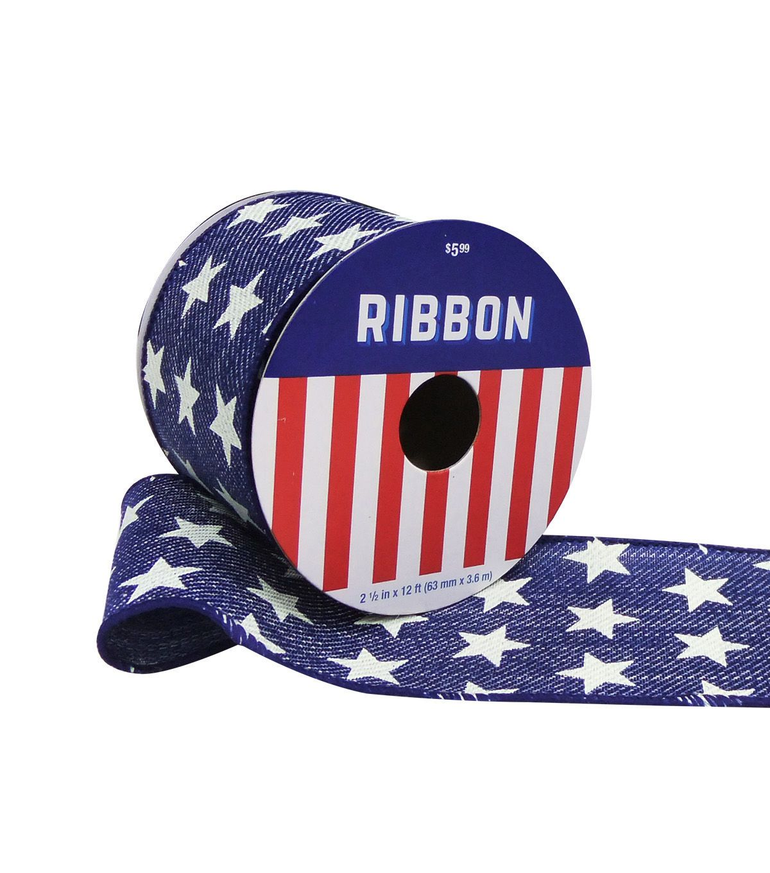Americana Patriotic Ribbon 2 5''x12'-White Stars on Denim
