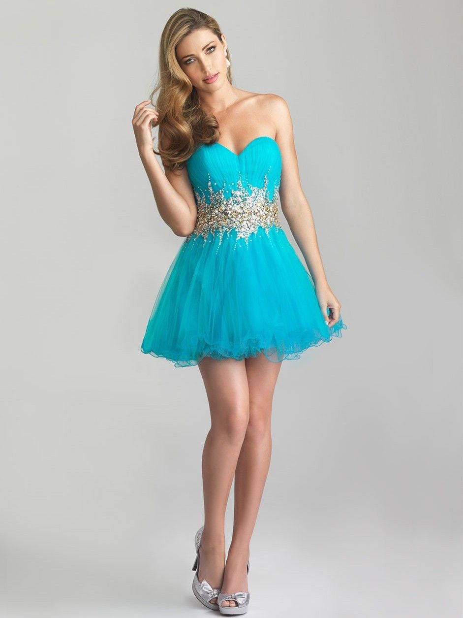 7132f0e724d A-line Tulle Sweetheart Natural Waist Short Mini Length Lace-up Sleeveless  Appliques Beading Prom Dress