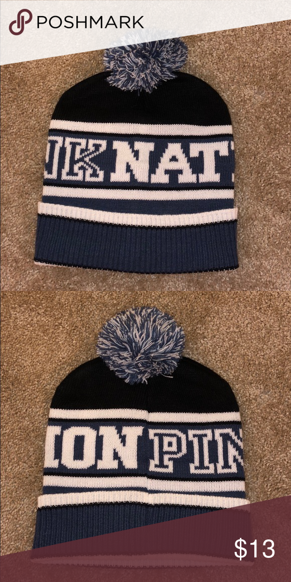 a9ca81b22d1 Beanie hat Pink nation blue black and white beanie hat with ball on top PINK  Accessories