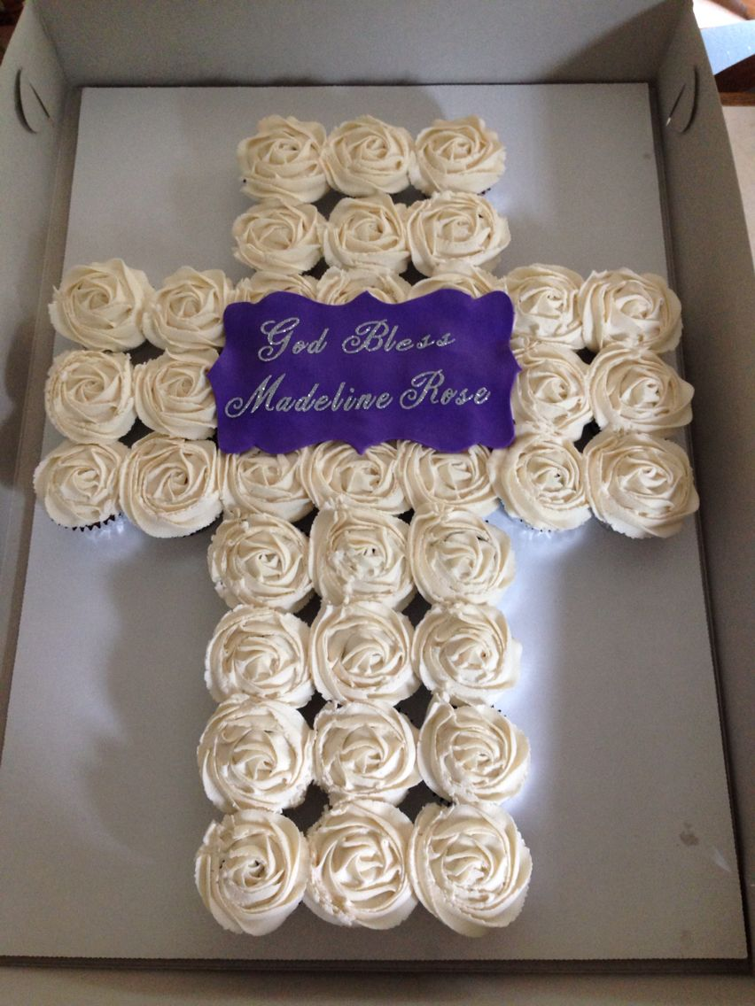 Baptism Cupcakes I Made In The Shape Of A Cross For My