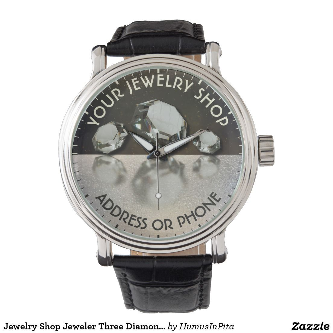 Jewelry Shop Jeweler Three Diamonds On Gold Dust Wrist Watches