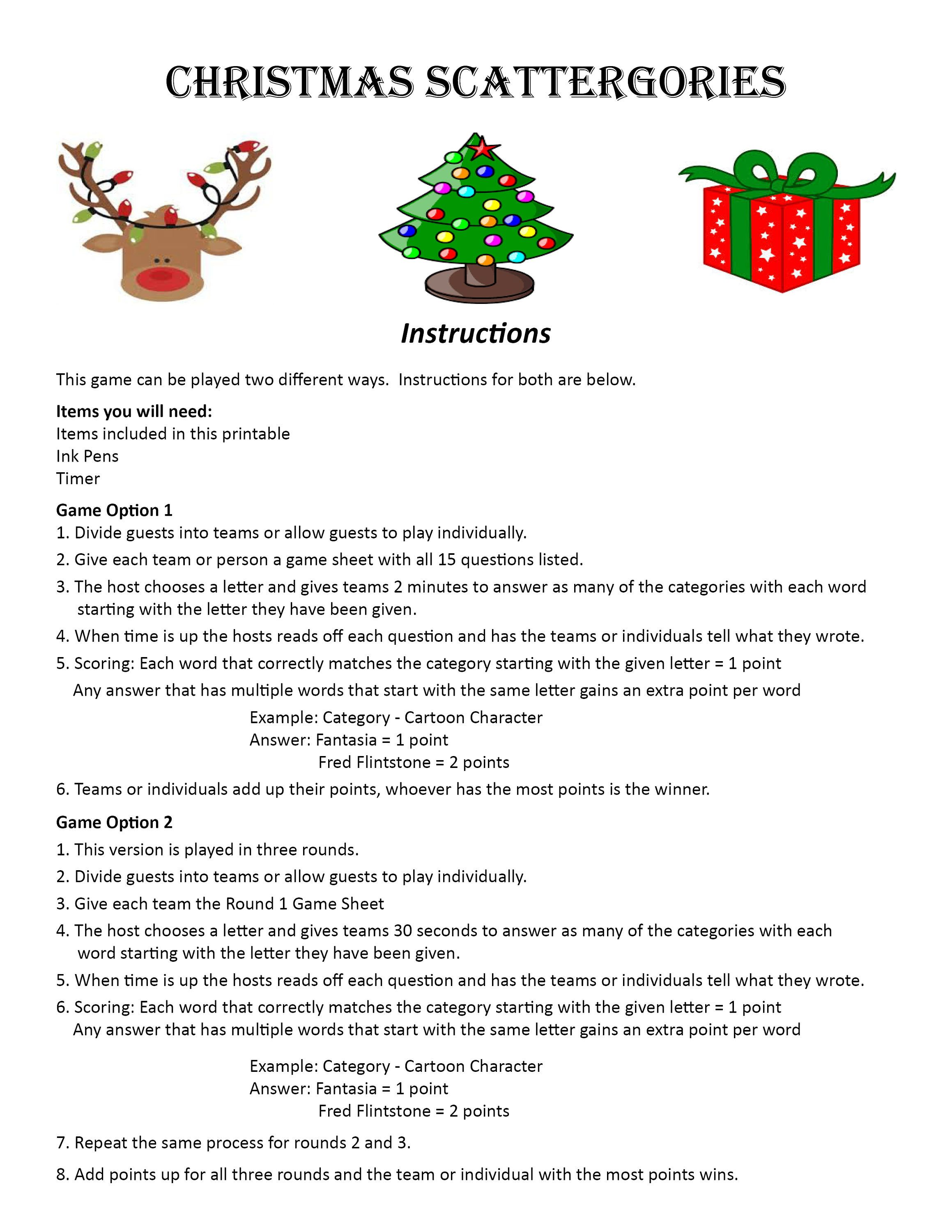 Christmas Scattergories DIGITAL DOWNLOAD, Word Game, Christmas Game ...