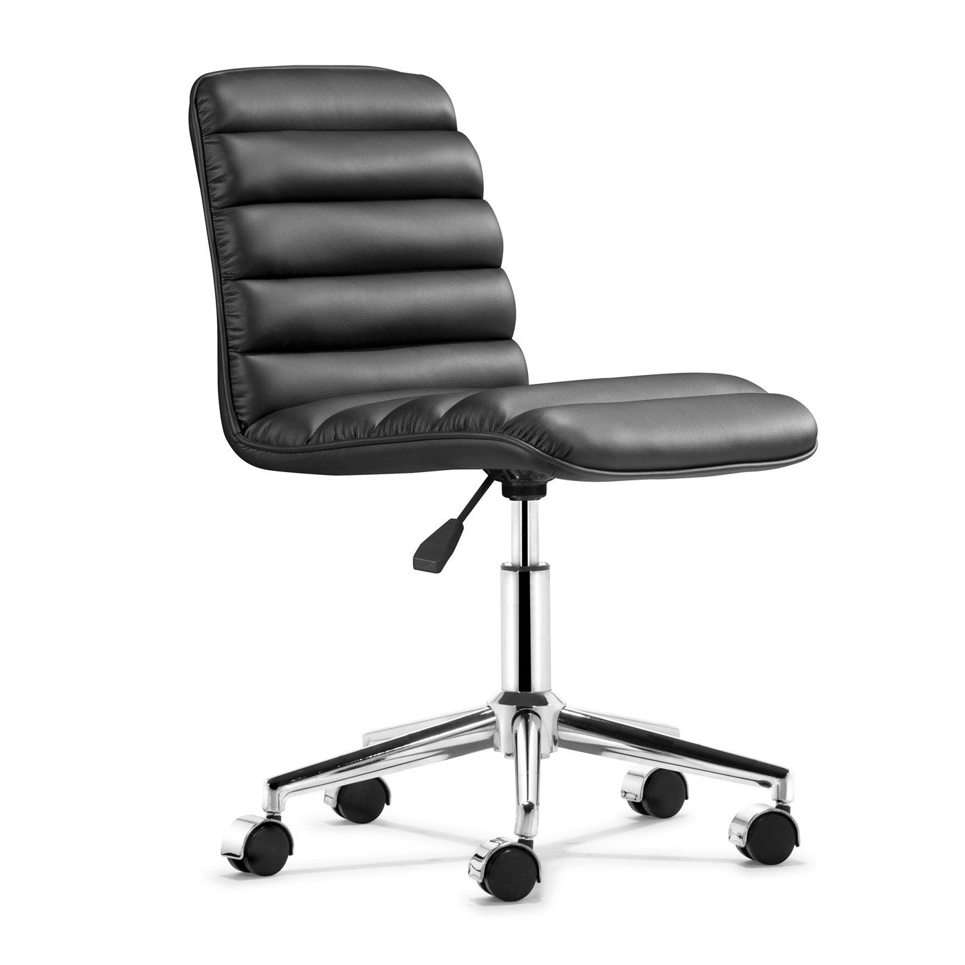 The Cushion Plush Armless Office Chair In Breathable Black Will