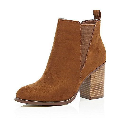 Brown Heeled Ankle Boots - Cr Boot