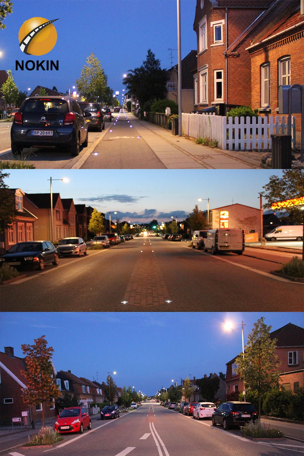 Application examples of led cat eyes on the road of town