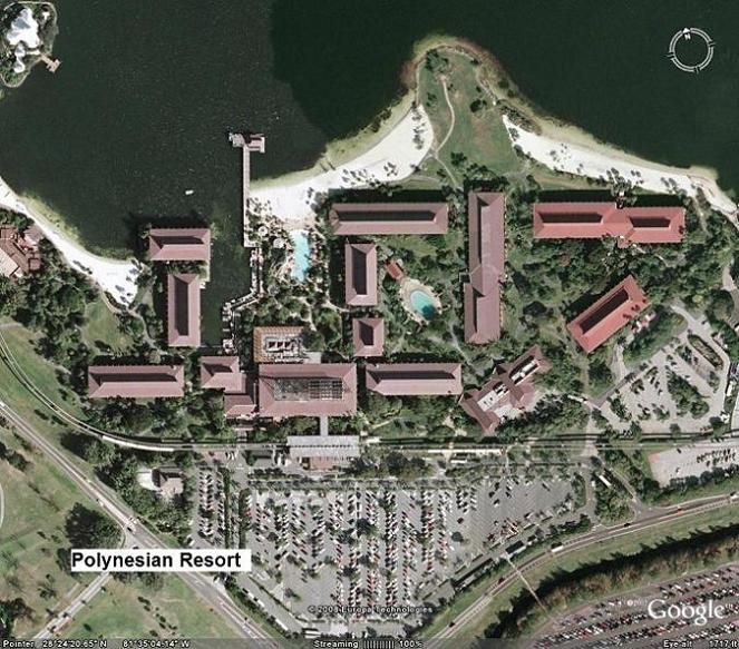 The second of the Polynesian Resort maps is a detailed aerial view ...