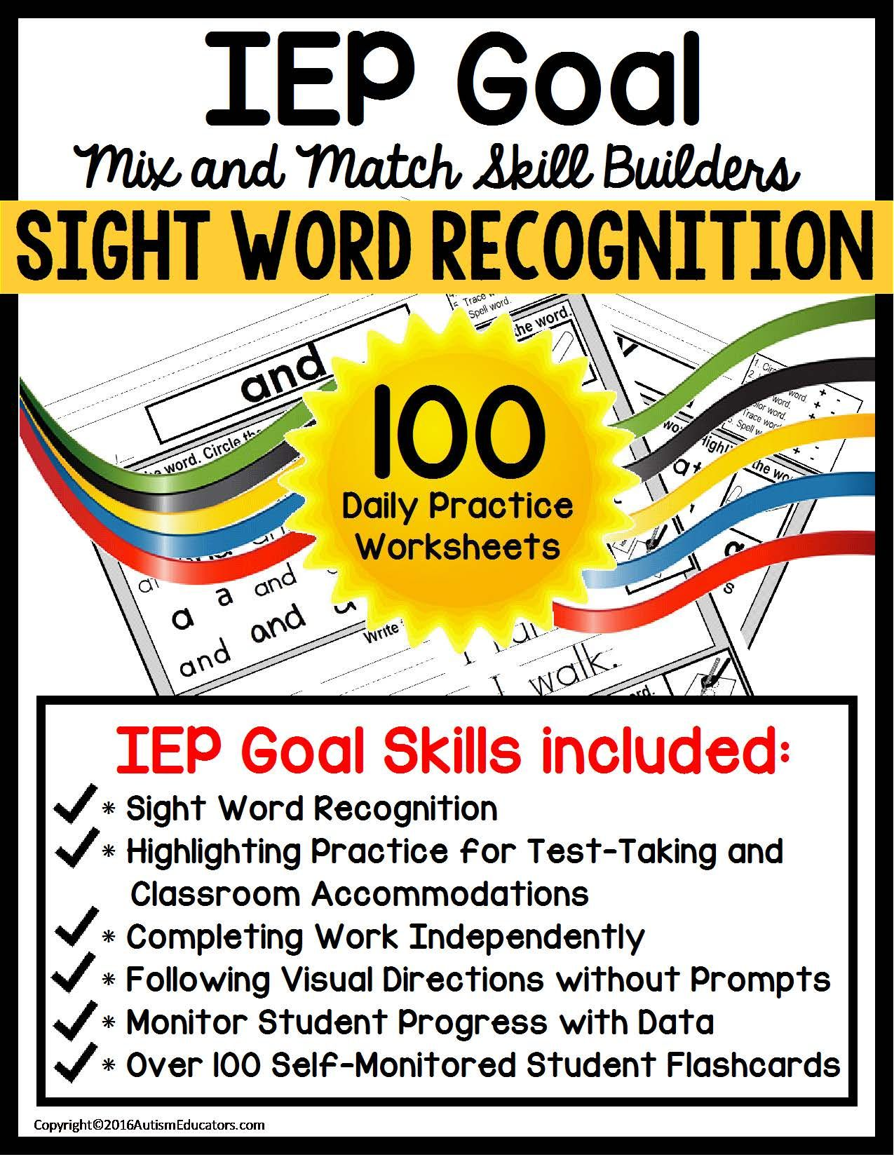 100 High Frequency Words Worksheets With 6 Learning