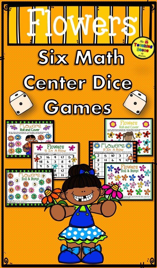 Flowers Math Center Dice Games Math, Fun games for kids