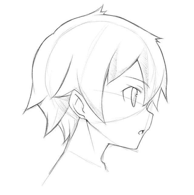 A Side View Of A Boys Face Cabelo Manga Desenho De Rosto Desenhos De Penteados