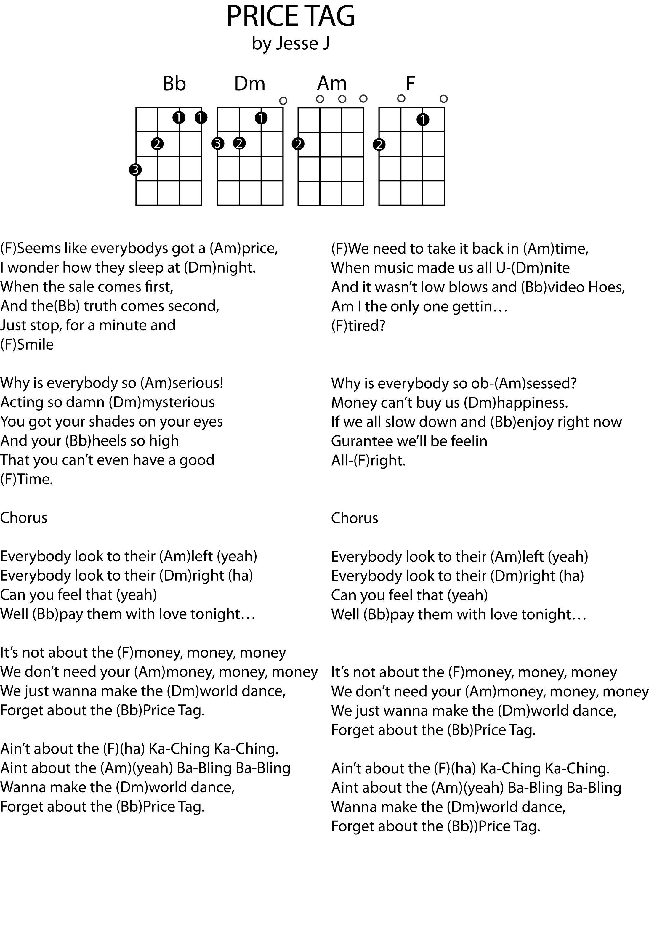 Price Tag Chords : price, chords, Price, Chord, Sheet., Prefer, Vocal, Range, Well., Ukulele, Songs,, Ukelele, Chords