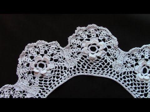 ажурный воротничок крючком вариант 3crochet Collar Youtube