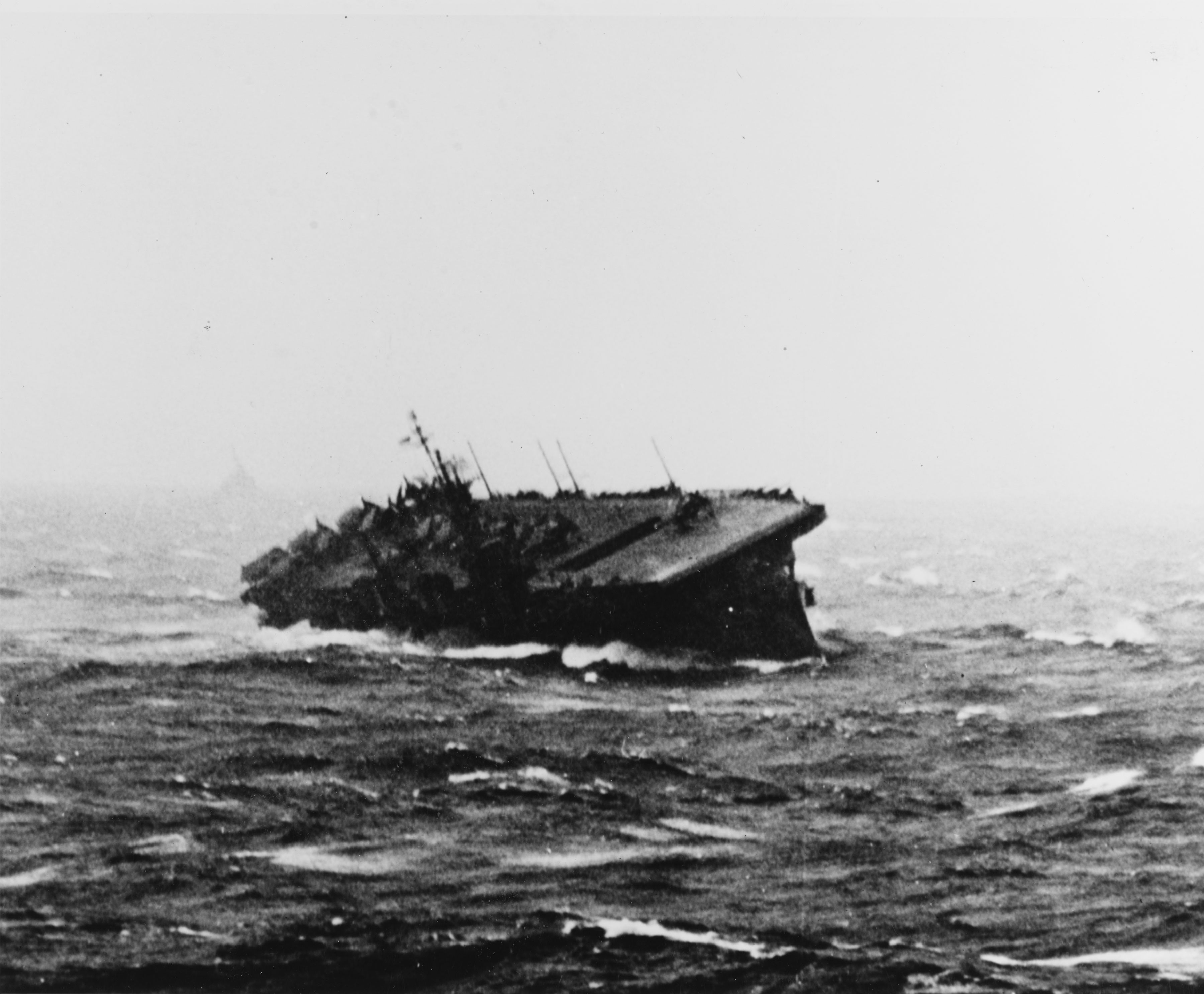 Uss Langley Cvl 27 Rolling Sharply As She Rides Out A Pacific